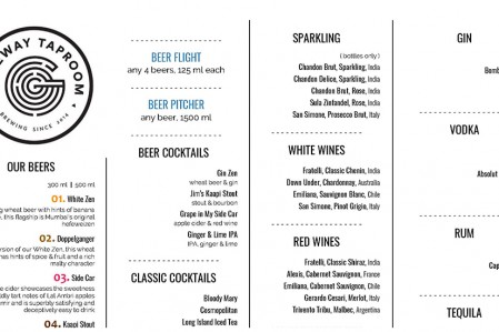 Gateway Taproom Menu